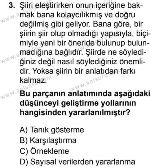 Türk Dili ve Edebiyatı 4 Dersi 2019 - 2020 Yılı 2. Dönem Sınav Soruları 3. Soru