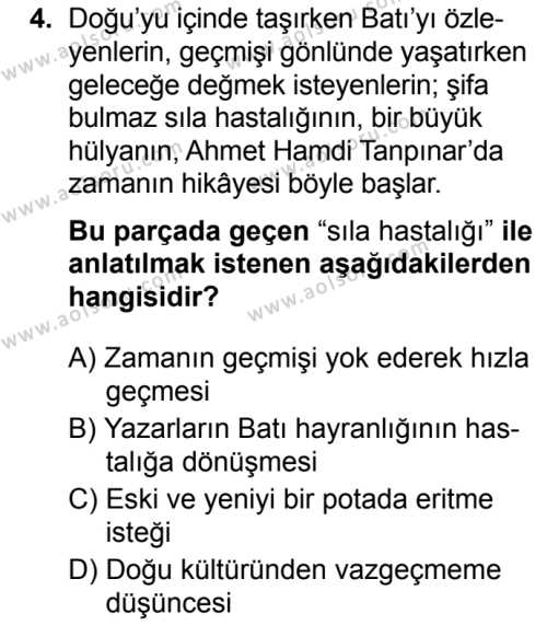 Türk Dili ve Edebiyatı 4 Dersi 2019 - 2020 Yılı 2. Dönem Sınav Soruları 4. Soru