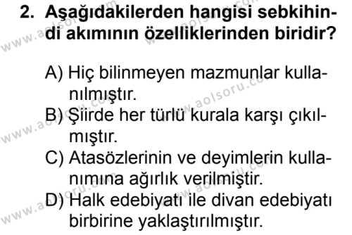 Türk Dili ve Edebiyatı 5 Dersi 2018 - 2019 Yılı 1. Dönem Sınavı 2. Soru