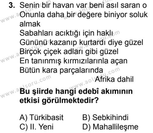 Türk Dili ve Edebiyatı 5 Dersi 2018 - 2019 Yılı 1. Dönem Sınavı 3. Soru