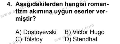 Türk Dili ve Edebiyatı 5 Dersi 2018 - 2019 Yılı 1. Dönem Sınavı 4. Soru