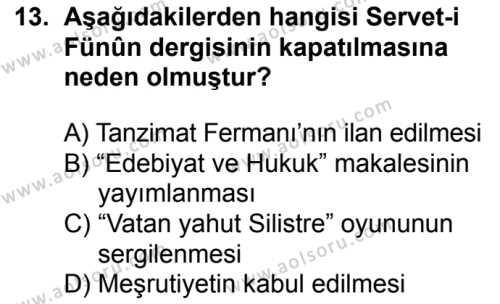 Türk Dili ve Edebiyatı 5 Dersi 2018-2019 Yılı 1. Dönem Sınavı 13. Soru