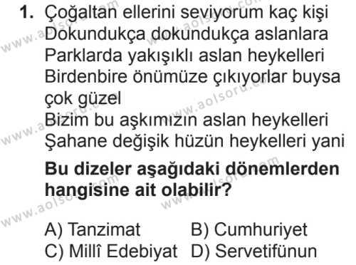 Türk Dili ve Edebiyatı 5 Dersi 2018 - 2019 Yılı 2. Dönem Sınavı 1. Soru