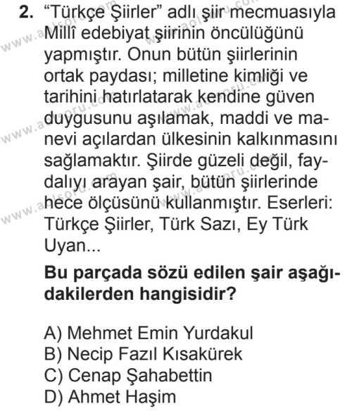 Türk Dili ve Edebiyatı 5 Dersi 2018 - 2019 Yılı 2. Dönem Sınavı 2. Soru