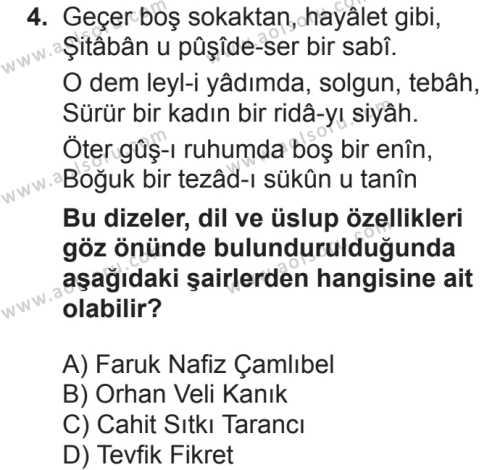 Türk Dili ve Edebiyatı 5 Dersi 2018 - 2019 Yılı 2. Dönem Sınavı 4. Soru