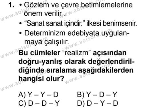 Türk Dili ve Edebiyatı 5 Dersi 2018 - 2019 Yılı 3. Dönem Sınavı 1. Soru