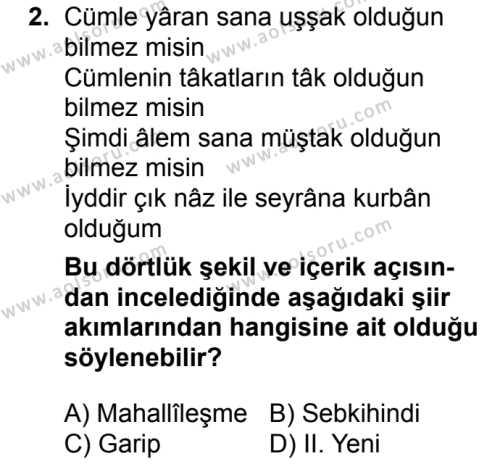 Türk Dili ve Edebiyatı 5 Dersi 2018 - 2019 Yılı 3. Dönem Sınavı 2. Soru