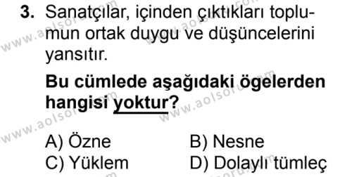 Türk Dili ve Edebiyatı 5 Dersi 2018 - 2019 Yılı 3. Dönem Sınavı 3. Soru
