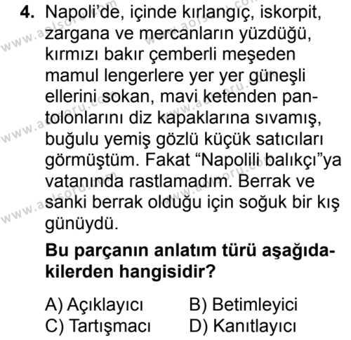 Türk Dili ve Edebiyatı 5 Dersi 2018 - 2019 Yılı 3. Dönem Sınavı 4. Soru