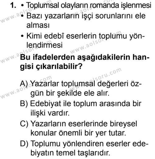 Türk Dili ve Edebiyatı 5 Dersi 2019 - 2020 Yılı 1. Dönem Sınav Soruları 1. Soru