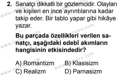 Türk Dili ve Edebiyatı 5 Dersi 2019 - 2020 Yılı 1. Dönem Sınav Soruları 2. Soru