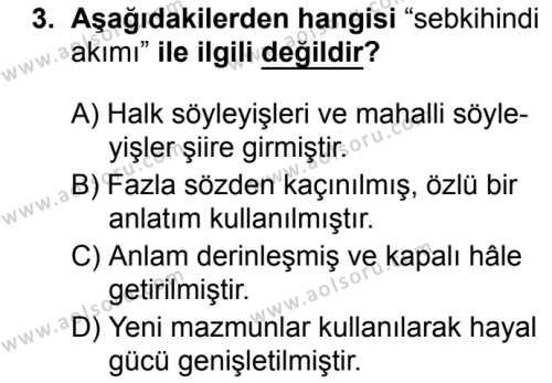 Türk Dili ve Edebiyatı 5 Dersi 2019-2020 Yılı 1. Dönem Sınavı 3. Soru