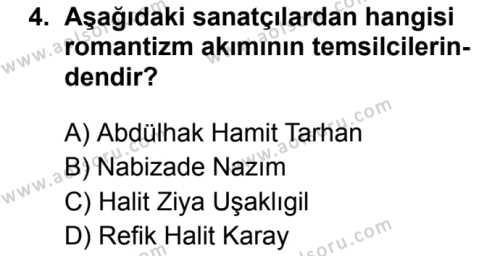 Türk Dili ve Edebiyatı 5 Dersi 2019 - 2020 Yılı 1. Dönem Sınav Soruları 4. Soru