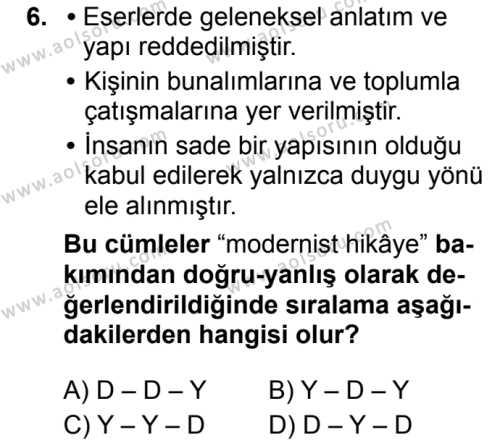 Türk Dili ve Edebiyatı 5 Dersi 2019-2020 Yılı 1. Dönem Sınavı 6. Soru