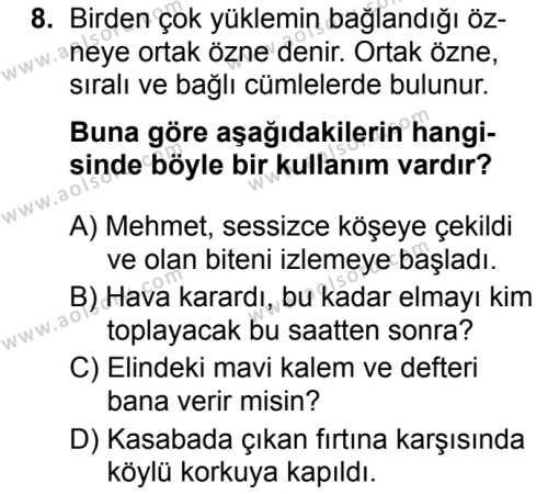 Türk Dili ve Edebiyatı 5 Dersi 2019-2020 Yılı 1. Dönem Sınavı 8. Soru