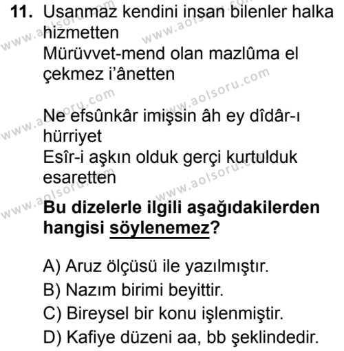 Türk Dili ve Edebiyatı 5 Dersi 2019-2020 Yılı 1. Dönem Sınavı 11. Soru