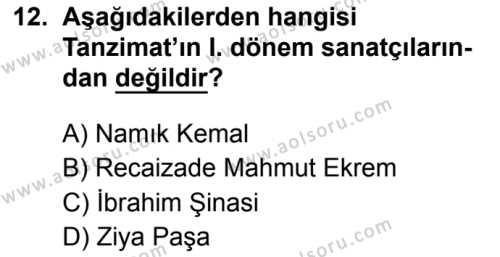Türk Dili ve Edebiyatı 5 Dersi 2019-2020 Yılı 1. Dönem Sınavı 12. Soru