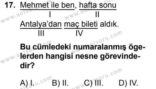 Türk Dili ve Edebiyatı 5 Dersi 2019-2020 Yılı 1. Dönem Sınavı 17. Soru