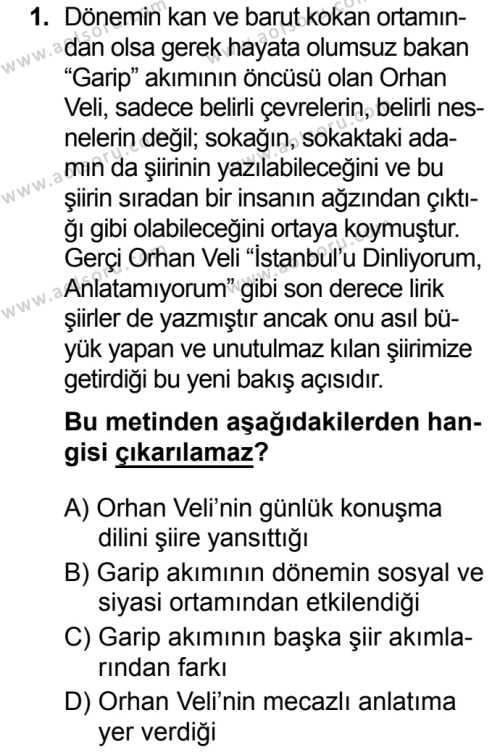 Türk Dili ve Edebiyatı 5 Dersi 2019 - 2020 Yılı 2. Dönem Sınav Soruları 1. Soru