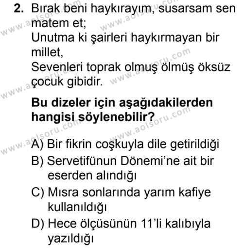 Türk Dili ve Edebiyatı 5 Dersi 2019 - 2020 Yılı 2. Dönem Sınav Soruları 2. Soru