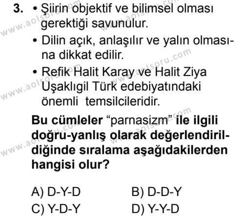 Türk Dili ve Edebiyatı 5 Dersi 2019 - 2020 Yılı 2. Dönem Sınav Soruları 3. Soru
