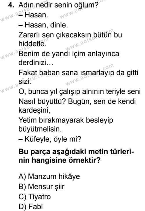 Türk Dili ve Edebiyatı 5 Dersi 2019 - 2020 Yılı 2. Dönem Sınav Soruları 4. Soru