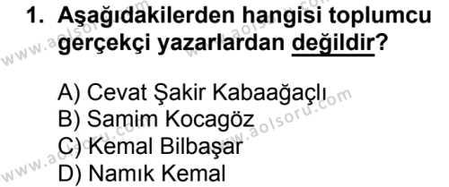 Türk Dili ve Edebiyatı 6 Dersi 2018 - 2019 Yılı 1. Dönem Sınavı 1. Soru
