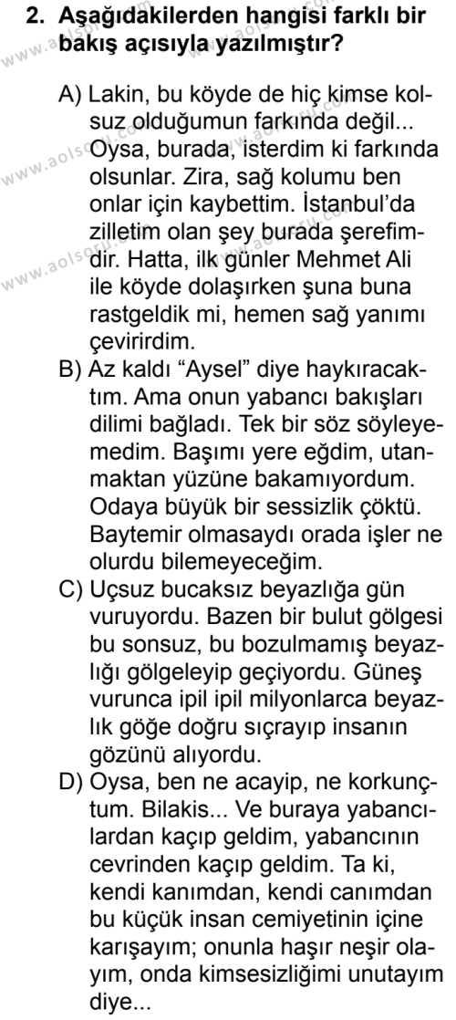 Türk Dili ve Edebiyatı 6 Dersi 2018 - 2019 Yılı 1. Dönem Sınavı 2. Soru
