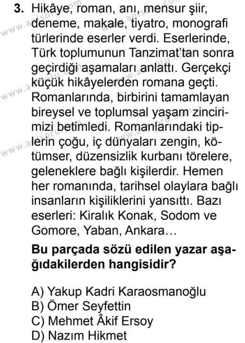 Türk Dili ve Edebiyatı 6 Dersi 2018 - 2019 Yılı 1. Dönem Sınavı 3. Soru