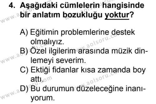 Türk Dili ve Edebiyatı 6 Dersi 2018 - 2019 Yılı 1. Dönem Sınavı 4. Soru