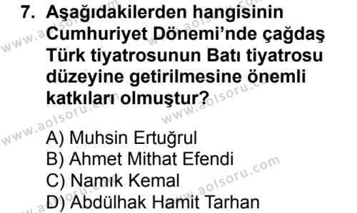 Türk Dili ve Edebiyatı 6 Dersi 2018-2019 Yılı 1. Dönem Sınavı 7. Soru