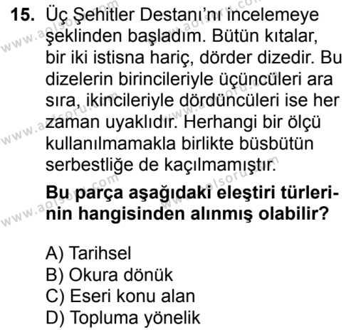 Türk Dili ve Edebiyatı 6 Dersi 2018-2019 Yılı 1. Dönem Sınavı 15. Soru