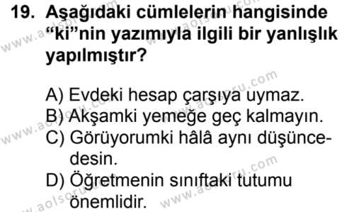 Türk Dili ve Edebiyatı 6 Dersi 2018-2019 Yılı 1. Dönem Sınavı 19. Soru