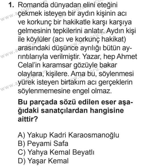 Türk Dili ve Edebiyatı 6 Dersi 2018 - 2019 Yılı 2. Dönem Sınavı 1. Soru