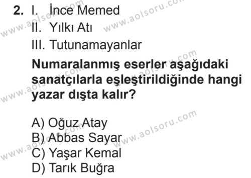 Türk Dili ve Edebiyatı 6 Dersi 2018 - 2019 Yılı 2. Dönem Sınavı 2. Soru