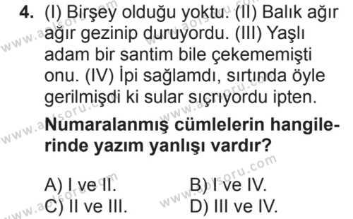 Türk Dili ve Edebiyatı 6 Dersi 2018 - 2019 Yılı 2. Dönem Sınavı 4. Soru