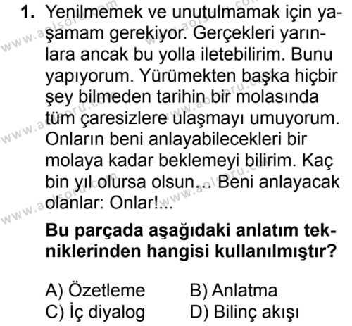 Türk Dili ve Edebiyatı 6 Dersi 2018 - 2019 Yılı 3. Dönem Sınavı 1. Soru