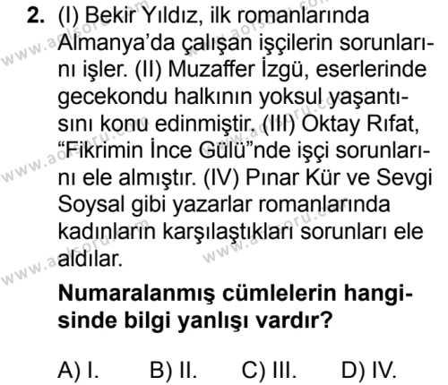 Türk Dili ve Edebiyatı 6 Dersi 2018 - 2019 Yılı 3. Dönem Sınavı 2. Soru