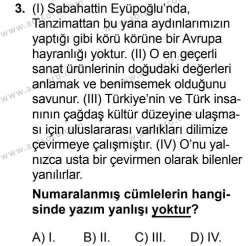 Türk Dili ve Edebiyatı 6 Dersi 2018 - 2019 Yılı 3. Dönem Sınavı 3. Soru