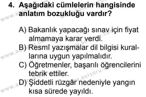 Türk Dili ve Edebiyatı 6 Dersi 2018 - 2019 Yılı 3. Dönem Sınavı 4. Soru