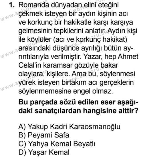 Türk Dili ve Edebiyatı 6 Dersi 2018 - 2019 Yılı Ek Sınavı 1. Soru