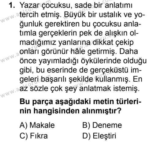 Türk Dili ve Edebiyatı 6 Dersi 2019 - 2020 Yılı 1. Dönem Sınav Soruları 1. Soru