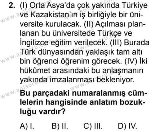 Türk Dili ve Edebiyatı 6 Dersi 2019 - 2020 Yılı 1. Dönem Sınav Soruları 2. Soru
