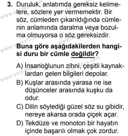 Türk Dili ve Edebiyatı 6 Dersi 2019 - 2020 Yılı 1. Dönem Sınav Soruları 3. Soru