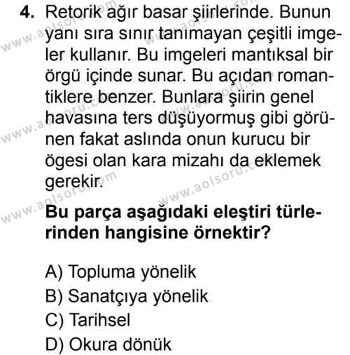 Türk Dili ve Edebiyatı 6 Dersi 2019 - 2020 Yılı 1. Dönem Sınav Soruları 4. Soru