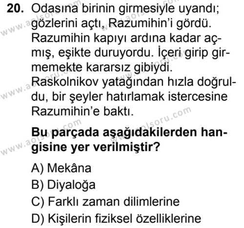 Türk Dili ve Edebiyatı 6 Dersi 2019-2020 Yılı 1. Dönem Sınavı 20. Soru