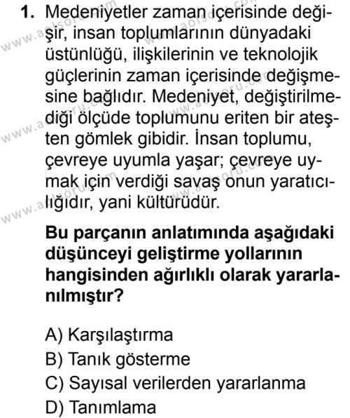 Türk Dili ve Edebiyatı 6 Dersi 2019 - 2020 Yılı 2. Dönem Sınav Soruları 1. Soru