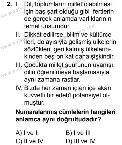 Türk Dili ve Edebiyatı 6 Dersi 2019 - 2020 Yılı 2. Dönem Sınav Soruları 2. Soru