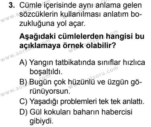Türk Dili ve Edebiyatı 6 Dersi 2019 - 2020 Yılı 2. Dönem Sınav Soruları 3. Soru