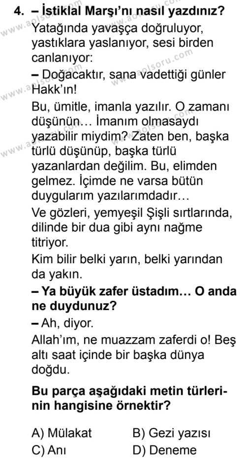 Türk Dili ve Edebiyatı 6 Dersi 2019 - 2020 Yılı 2. Dönem Sınav Soruları 4. Soru